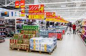 Samara, Russia - October 5, 2014: Interior Of The New Hypermarket Magnit. Russia's Largest Retailer.