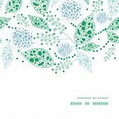 Vector abstract blue and green leaves horizontal frame seamless pattern background