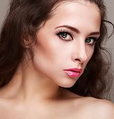 Bright Perfect Female Makeup With Long Lashes. Closeup Face Portrait