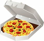 italian pizza in paper box