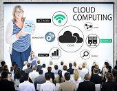 Business People in a Cloud Computing Seminar