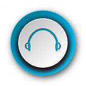 headphones blue modern web icon on white background