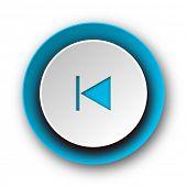 prev blue modern web icon on white background