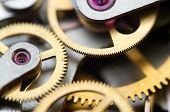 stock photo of time machine  - Background with metal cogwheels a clockwork - JPG