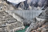 picture of dam  - In turkey artvin,  gigantic deep dam structures - massive dam
