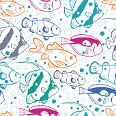 Colorful fish vector seamless pattern background