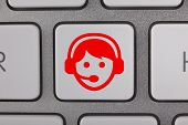 Service on Keyboard Red Man