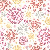 Folk floral circles abstract seamless pattern background
