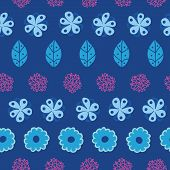 Dark blue field flowers stripes seamless pattern background