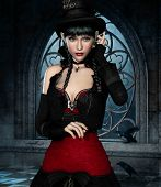 picture of gothic girl  - 3d computer graphics of a girl with clothing in Steampunk - JPG