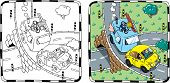 Yellow retro car with trailer. Coloring book