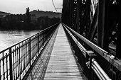 Path on industrial bridge leading to far away