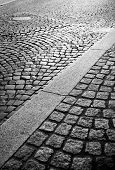 stock photo of cobblestone  - Abstract background of cobblestone pavement.