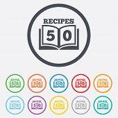 Cookbook sign icon. 50 Recipes book symbol.