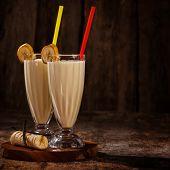 Yummy banana milkshake on a table