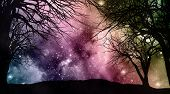 Tree landscape against a starfield sky with nebular and stars