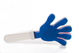 foto of applause  - Plastic colorful hand clap toy for applause with white backgrond - JPG