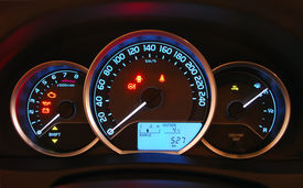 stock photo of mph  - illuminated instrument panel with the passenger car - JPG