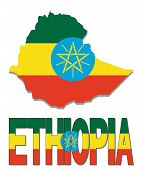 Ethiopia map flag and text illustration