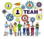 People Digital Device Connection Gear Corporate Team Concept