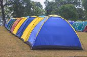Colorful tent on the camping ground