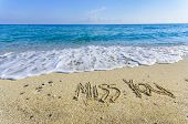 image of missing  - MISS YOU creative abstract graphic message for your summer design - JPG