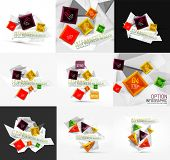 Set of vector fresh business abstract infographics on 3d triangular background