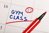 Written plan Gym Class on calendar page background