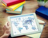 Businessman Digital Tablet Global Business Support Concept