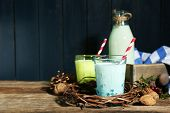 Fresh milk with natural decor, on wooden background