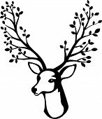 Deer head cartoon with tree branch horn