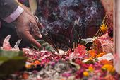 Offering In Hinduism Temple In Nepal
