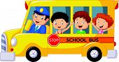 picture of bus driver  - Vector illustration of Happy children cartoon on a school bus - JPG