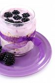 Healthy breakfast - yogurt with  blackberries and muesli served in glass jar, isolated on white