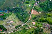 stock photo of medellin  - Beautiful breathtaking aerial view of Guatape in Antioquia - JPG