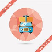 image of caravan  - Caravan Car Flat Icon With Long Shadow - JPG