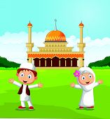 stock photo of muslim kids  - Vector illustration of Happy cartoon Muslim kids waving hand in front of mosque - JPG