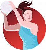 Netball Player Passing Ball Retro