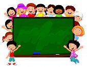 Crowd children cartoon with chalkboard