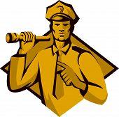 Policeman Police Officer Flashlight Retro