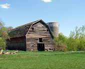old weathered abandoned barn silo