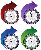 stock photo of daylight saving time  - An art illustration image of Forward Clock Arrow Set - JPG