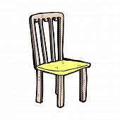 retro comic book style cartoon old chair