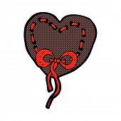 stitched heart retro comic book style cartoon