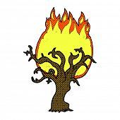 retro comic book style cartoon winter tree on fire