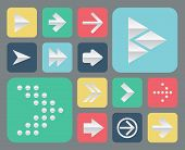Set Of Papper Arrow Icons, Flat Ui Design Trend