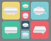 stock photo of bubble sheet  - Set of paper bubbles icons flat UI design trend - JPG