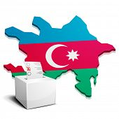 detailed illustration of a ballotbox in front of a map of Azerbaijan, eps10 vector