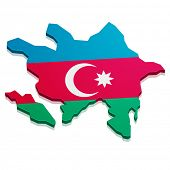 detailed illustration of a map of Azerbaijan with flag, eps10 vector