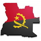 detailed illustration of a map of Angola with flag, eps10 vector
